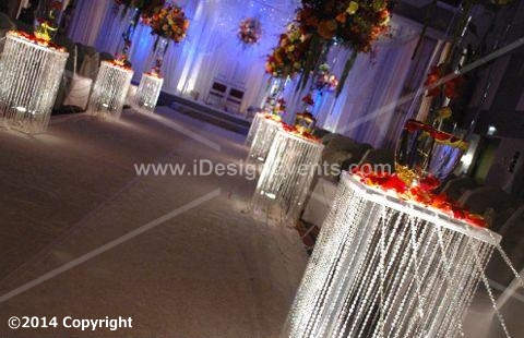3 FEET IRIDESCENT SQ Plexi WEDDING AISLE DECORATION CRYSTAL PILLARS PEDESTALS COLUMNS