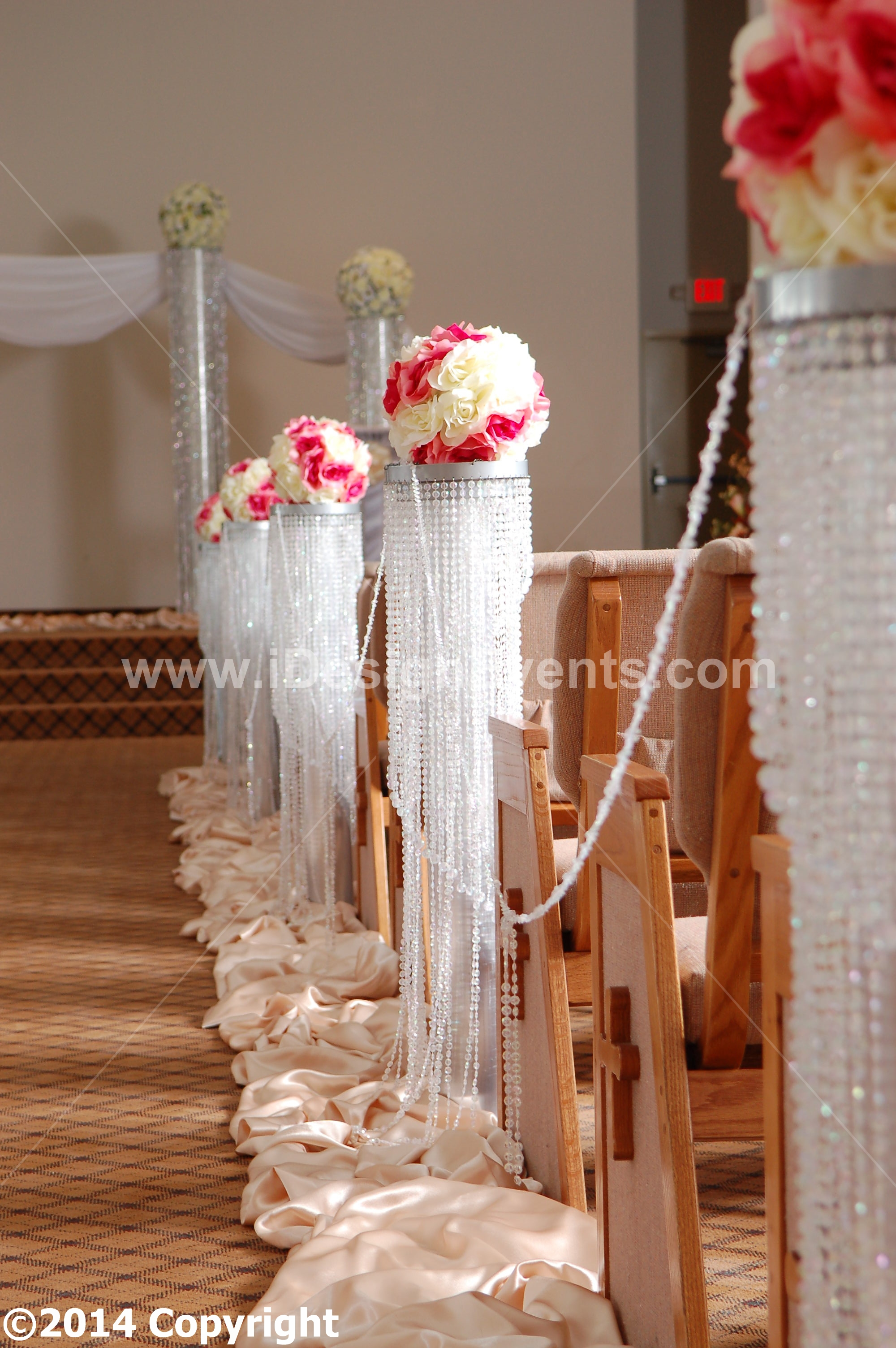 3 FEET IRIDE RD SCENT WEDDING AISLE DECORATION CRYSTAL PILLARS PEDESTALS COLUMNS