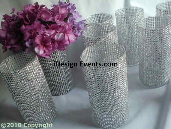 Crystal Band Wrapped Around A Cylinder Vase